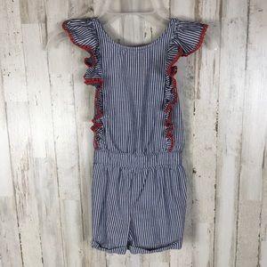 Cat & Jack Girls Ruffle Striped Jumpsuit Shorts 4